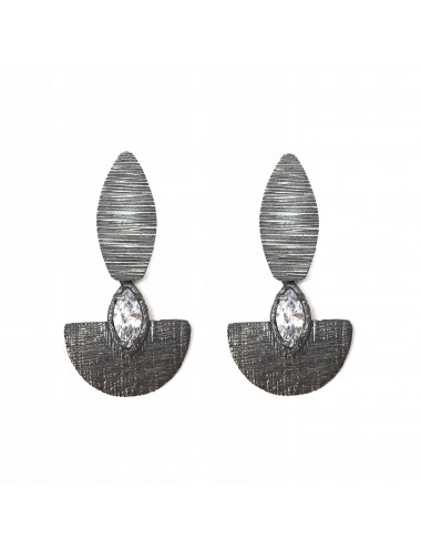 Architecture Oval Earrings in Dark Sterling Silver with White Circonita Marquise