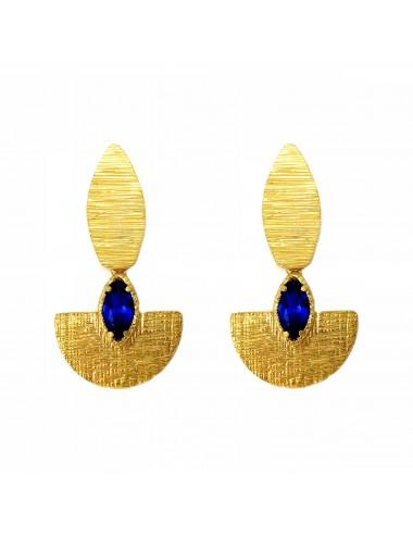 Pendientes Oro Oval Con Espinela Marquise Azul Architecture