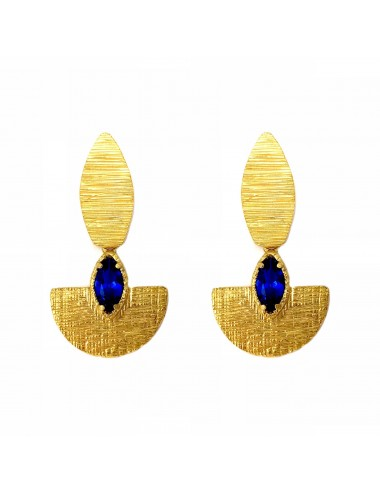 Architecture Oval Earrings in Sterling Silver Vermeil with Blue Spinel Marquise
