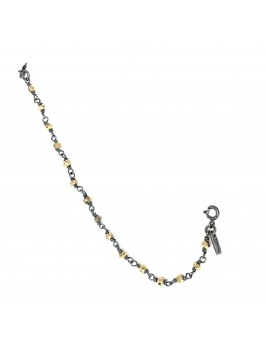CHAIN ROSARY PYRITE 11CM IN DARK STERLING SILVER