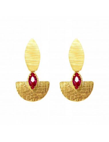 Architecture Oval Earrings in Sterling Silver Vermeil with Ruby Marquise