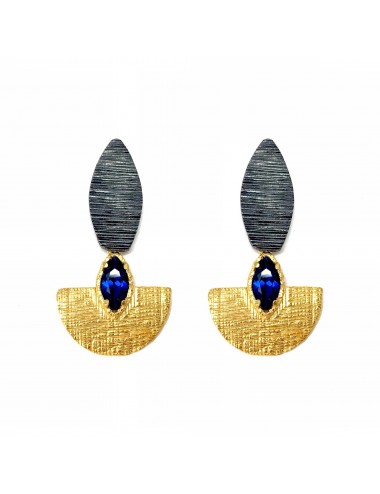 Pendientes Plata Y Oro Oval Con Espinela Marquise Azul Architecture