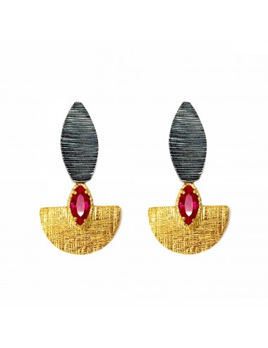 Architecture Oval Earrings in Sterling Silver and Vermeil with Ruby Marquise