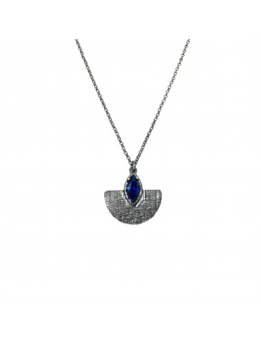 Architecture Oval Pendant in Dark Sterling Silver with Blue Spinel Marquise