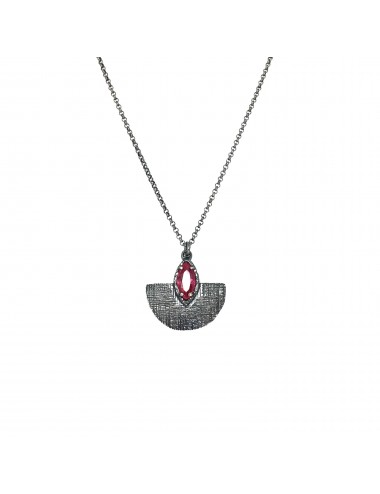 Architecture Oval Pendant in Dark Sterling Silver with Ruby Marquise