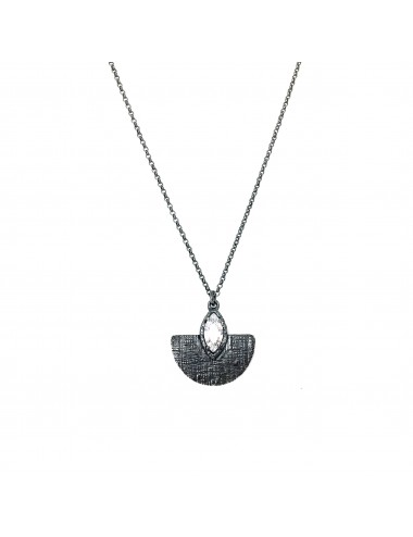 Architecture Oval Pendant in Dark Sterling Silver with White Circonita Marquise