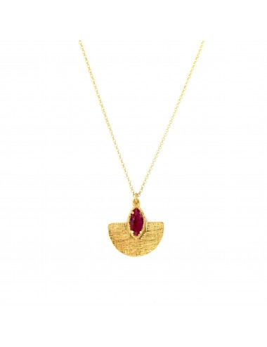 Architecture Oval Pendant in Sterling Silver Vermeil with Ruby Marquise