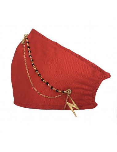 MASK RED YOMIME WITH 2 THIN CHAINS AND LIGHTNING