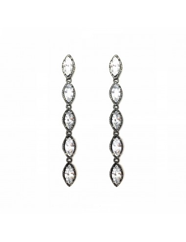 Architecture Earrings in Dark Sterling Silver with 5 White Circonitas Marquise