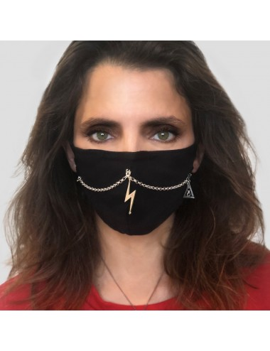 MASK BLACK YOMIME WITH 2 THIN CHAINS AND LIGHTNING AND EYE OF PROVIDENCE