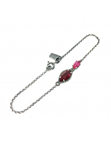 Architecture Bracelet in Dark Sterling Silver with Ruby Marquise