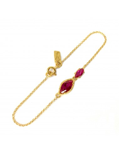 Architecture Bracelet in Sterling Silver Vermeil with Ruby Marquise