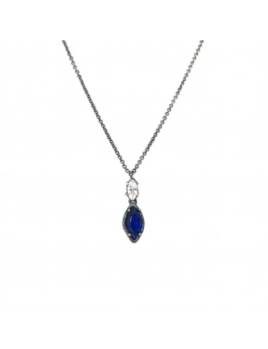 Architecture Necklace in Dark Sterling Silver with Blue Spinel Marquise