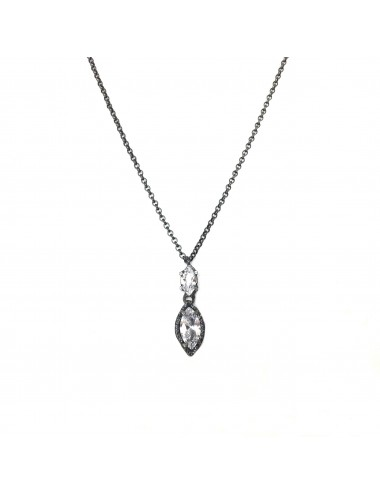 Architecture Necklace in Dark Sterling Silver with White Circonita Marquise