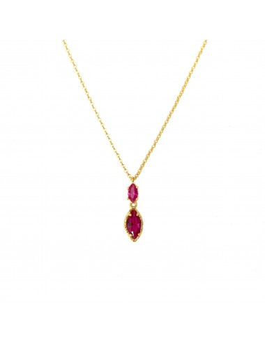 Architecture Necklace in Sterling Silver Vermeil with Ruby Marquise