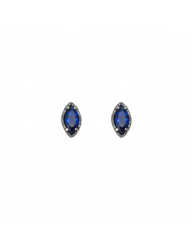 Architecture Button Earrings in Dark Sterling Silver with Blue Spinel Marquise