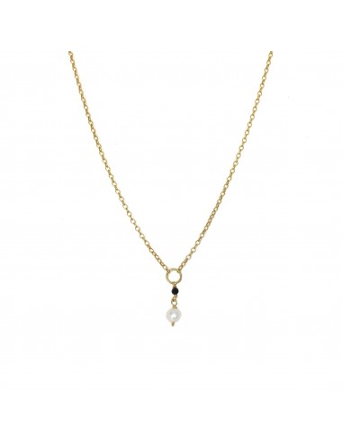 ICONS BY ALDO LONG NECKLACE  IN STERLING SILVER VERMEIL WITH NATURAL PEARL