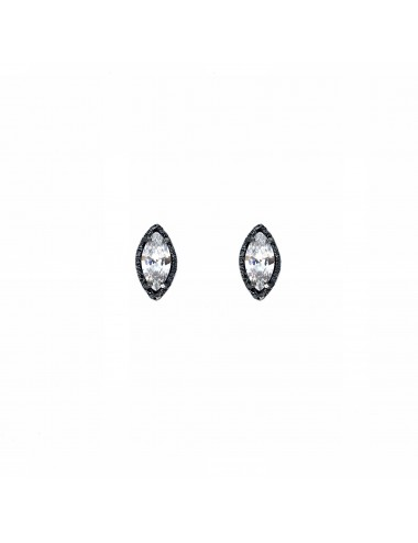 Architecture Button Earrings in Dark Sterling Silver with White Circonita Marquise