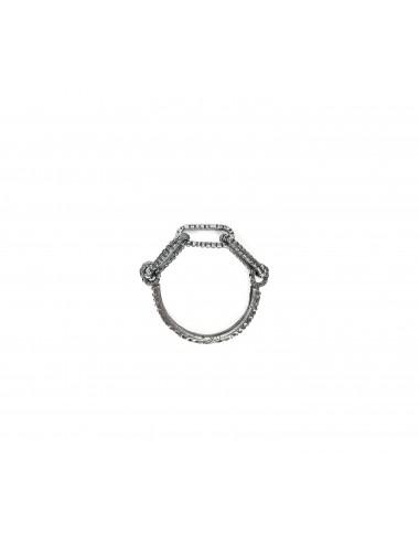 skyline chain ring in dark sterling silver