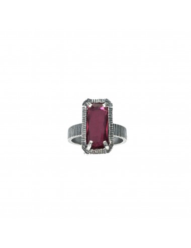 skyline small ring in dark sterling silver with burgundy red cristal ceramic