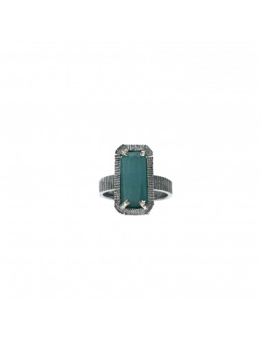 skyline small ring in dark sterling silver with turquoise cristal ceramic