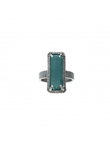 skyline medium ring in dark sterling silver with turquoise cristal ceramic