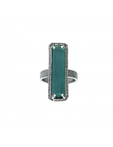 skyline large ring in dark sterling silver with turquoise cristal ceramic
