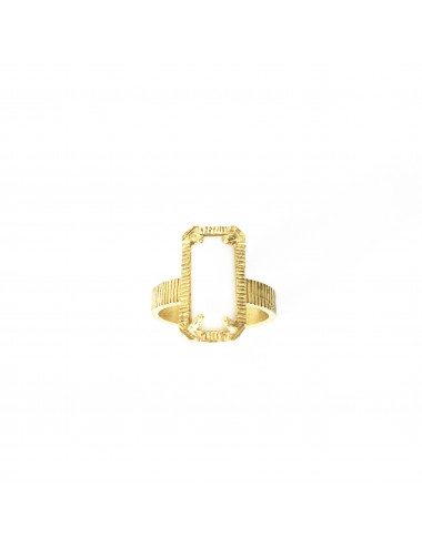 skyline small ring in sterling silver vermeil with white cristal ceramic