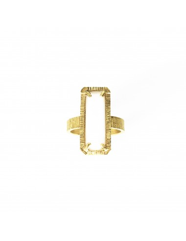 skyline medium ring in sterling silver vermeil with white cristal ceramic