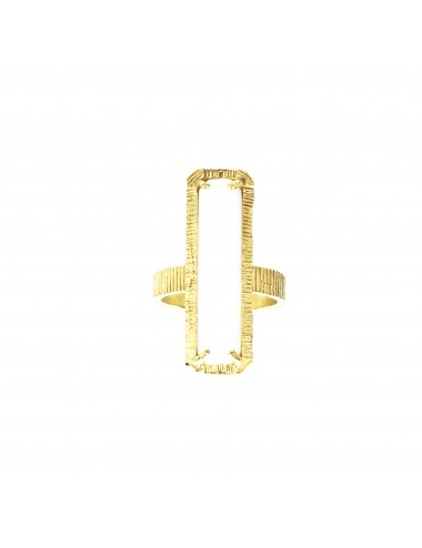 skyline large ring in sterling silver vermeil with white cristal ceramic