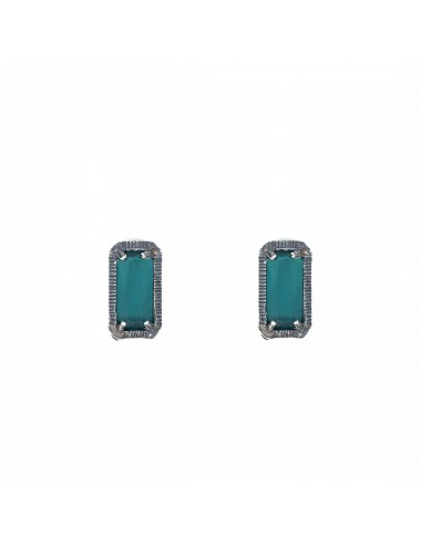 skyline button earrings in dark sterling silver with turquoise cristal ceramic