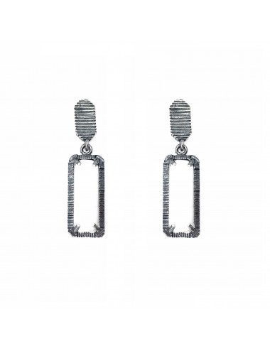 skyline short earrings in dark sterling silver with white cristal ceramic