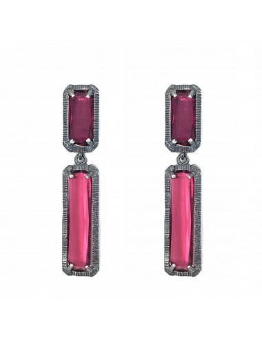 skyline long earrings in dark sterling silver with burgundy red cristal ceramic
