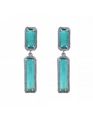 skyline long earrings in dark sterling silver with turquoise cristal ceramic