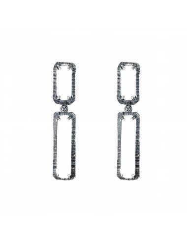skyline long earrings in dark sterling silver with white cristal ceramic