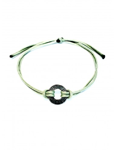 Experiences Green Leather Cordon Bracelet with Hoop in Dark Sterling Silver