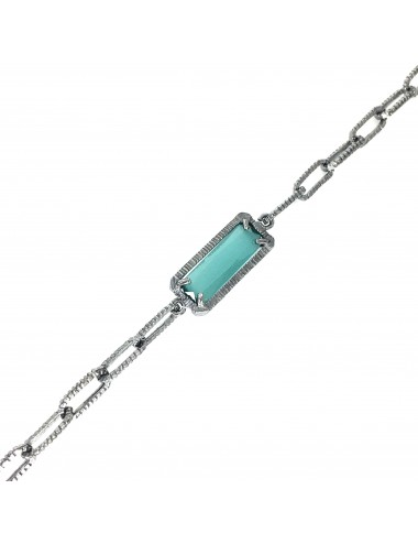 skyline chain bracelet in dark sterling silver with turquoise cristal ceramic