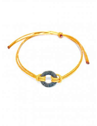 Experiences Yellow Leather Cordon Bracelet with Hoop in Dark Sterling Silver