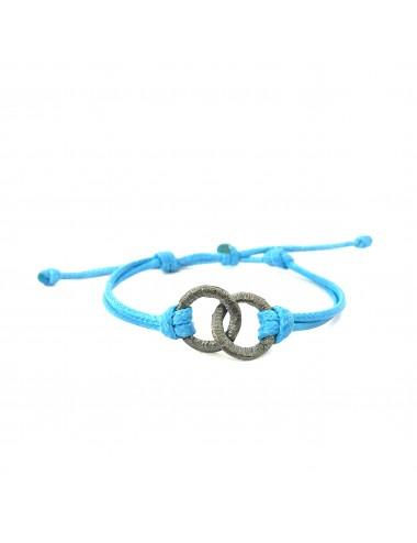 Pulsera Plata Oxidada 2 Aros Cruzados Cordon Cuero Azul Emabaradero