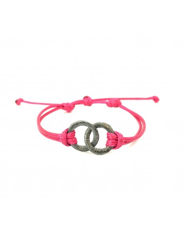 Embarcadero Pink Leather Cordon Bracelet with 2 Crossed Hoops in Dark Sterling Silver