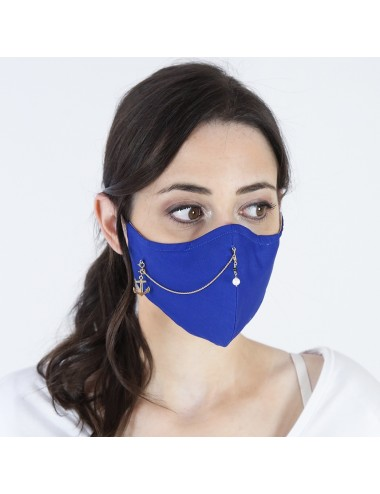 PACK MASK BLUE FLUOR YOMIME WITH CHARMS & PEARL IN STERLING SILVER VERMEIL