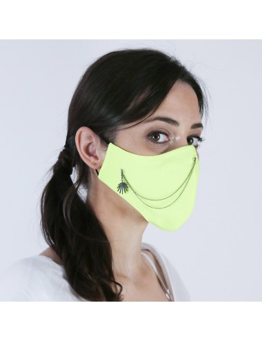 PACK MASK YELLOW FLUOR YOMIME WITH CHARM & DOUBLE CHAIN