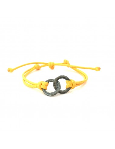 Embarcadero Yellow Leather Cordon Bracelet with 2 Crossed Hoops in Dark Sterling Silver