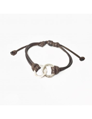 Embarcadero Brown Leather Cordon Bracelet with 2 Crossed Hoops in Sterling Silver