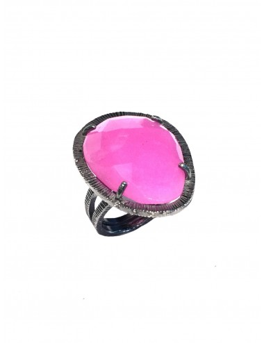 Boho Ring in Dark Sterling Silver with Fuchsia Jade