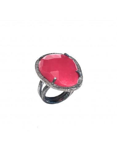 Boho Ring in Dark Sterling Silver with Red Jade