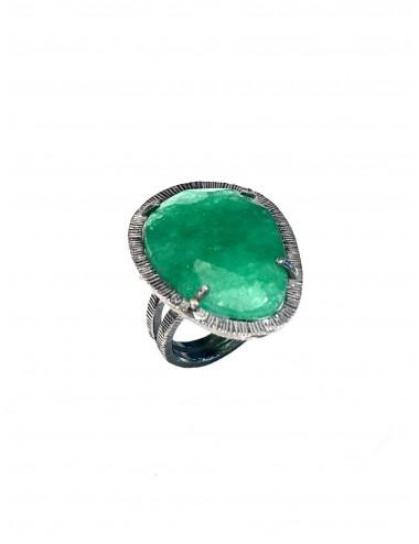 Sortija Plata Oxidada Con Jade Verde Boho