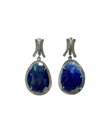 Boho Earrings in Dark Sterling Silver with Blue Jade