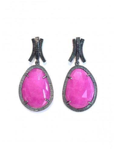 Boho Earrings in Dark Sterling Silver with Fuchsia Jade