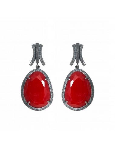 Boho Earrings in Dark Sterling Silver with Red Jade